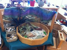 """Lovely sand tray set up with a mirror behind - image shared by M.A.N Made Creations ("""",)"""