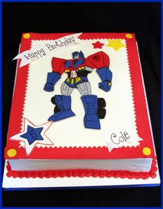Transformers - 12x15  Optimus Prime is made from fondant