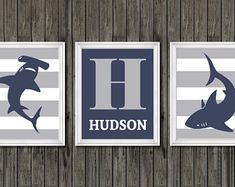 Shark nursery art, boys shark nursery decor personalized, kids shark decor, toddler shark room, shark decor, boys shark bedroom personalized