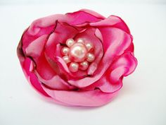 Pink Fabric Flower Ring, Adjustable Pink Cocktail Ring, ShabVintique Flowers, Bridal Flower Rings, Party Favors