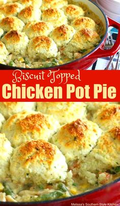 This Biscuit Topped Chicken Pot Pie is comfort food at it's finest. Topped with buttermilk drop biscuits, it's a taste of the South in your mouth. Chicke Recipes, Low Carb Chicken Recipes, Turkey Recipes, Vegetarian Recipes, Dinner Recipes, Cooking Recipes, Pork Recipes, Recipies, Healthy Recipes