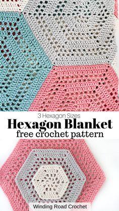 How to Crochet a Hexagon Blanket - Winding Road Crochet - - Learn to crochet a open stitch crochet hexagon blanket. Free crochet pattern by Winding Road Crochet. Plus Video Tutorial. Hexagon Crochet Pattern, Crochet Hexagon Blanket, Crochet Afghans, Crochet Quilt, Crochet Blocks, Crochet Stitches Patterns, Crochet Squares, Crochet Yarn, Hexagon Quilt