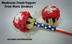 Rainbow Loom Mushroom Pencil Topper from Mario Brother's - Gomitas tutorial by Izzalicious Designs.