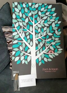 Wishwik Multi Wedding Tree Canvas | Guest Book Alternative | Modern Wedding | Customer Photo | Wedding Colors - Teal & Mint | peachwik.com