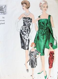 1950s RONALD PATERSON EVENING COCKTAIL SLIM DRESS,COAT PATTERN STRAPLESS or CAMISOLE TOP VOGUE COUTURIER DESIGN PATTERNS 1113