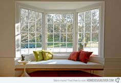 15 Bay Window Ideas for Inspiration   leave seat out to make room for wheelchair