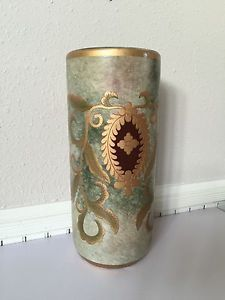 VTG DECORATED UMBRELLA STAND GOLD GILT ENAMELED SIGNED SYMBOL & CHINA