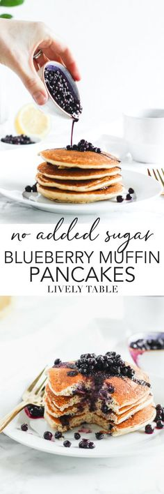 these healthy and delicious blueberry muffin pancakes are so light fluffy and flavorful you