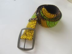 www.cewax.fr Ceinture tissu motif africain marron vert et jaune par cewax - Ceinture - Afrikrea