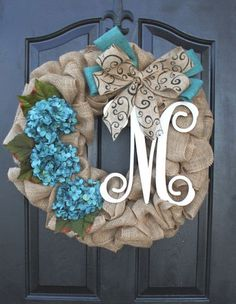 Two of my favs- hydrangeas and burlap! Burlap Wreath - Hydrangea Etsy Wreath -Wreaths - Summer wreaths for door - Spring Wreath Door Wreath - Monogram wreath Burlap Crafts, Wreath Crafts, Diy Wreath, Wreath Ideas, Wreath Burlap, Wreath Making, Burlap Wreath Tutorial, Cotton Wreath, Ornament Wreath