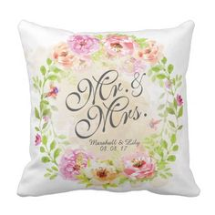 Personalized Floral Watercolor Wedding Pillow - home gifts ideas decor special unique custom individual customized individualized