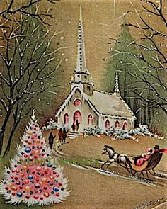 Decor 332 Glittered Church IN THE Night Vintage Christmas Greeting Card Vintage Christmas Images, Old Christmas, Old Fashioned Christmas, Christmas Scenes, Retro Christmas, Vintage Holiday, Christmas Pictures, Christmas Crafts, Christmas Decorations