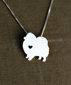 Pomeranian necklace sterling silver hand cut by JustPlainSimple