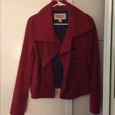 Mossimo supply co. trench coat Red warm and cozy women's coat. Only been worn once. Brand new without tag. Mossimo Supply Co Jackets & Coats Trench Coats