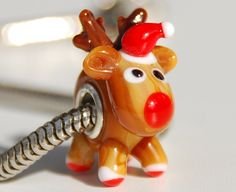 Handmade  Deer/ Reindeer Rudolph   Glass Lampwork Animal Bead fit Europian charm bracelets silver plated. $7.99, via Etsy.