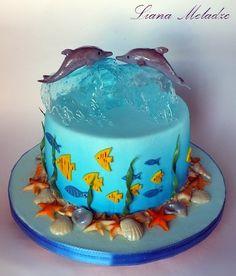 Свадебные Wedding – Cakes in Rostov-on-Don - cake decorating recipes kuchen kindergeburtstag cakes ideas Dolphin Birthday Cakes, Dolphin Cakes, Cake Birthday, Birthday Kids, Mermaid Birthday, Happy Birthday, Ocean Cakes, Beach Cakes, Beautiful Cakes