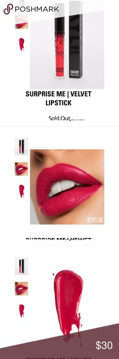 NWB Kylie Jenner Velvet Surprise Me 100% authentic, brand new, never opened Velvet lip gloss in Commando. It is a Velvet matte.  I had already purchased and my husband had gotten me a few colors so I have duplicates. This color is completely sold out and is gorgeous!  Proof of purchase in photos.  Open to all reasonable offers. ❤️ Kylie Cosmetics Makeup Lipstick