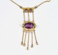 Amethyst Seed Pearl Edwardian Necklace Gold Filled Antique Jewelry Downton Abbey