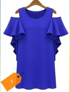 Chic Butterfly Sleeve Round Collar Solid Color Cold Shoulder Flounce Chiffon Dress For Women