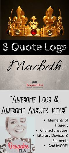 Macbeth characters task cards flip book quizzes writing test macbeth 8 quote logs with thorough answer keys for any tragedy fandeluxe Images