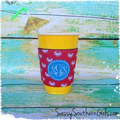 Solo Cup Koozie, Wine Glass Koozie, Coffee Cup Koozie, Monogrammed / Personalized Koozie on Etsy, $14.00
