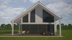 Mc-Home.nl K18 v1 modern landhuis schuurwoning met veel glas en kap energieneutraal  aardbevingsbestendig staalframebouw