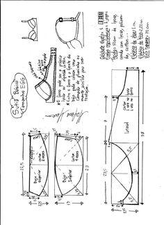 Esquema de modelagem de sutiã tamanho EGG. Underwear Pattern, Lingerie Patterns, Bra Pattern, Pattern Books, Clothing Patterns, Sewing Bras, Sewing Lingerie, Sewing Clothes, Diy Clothes