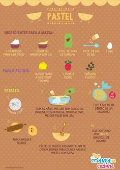 Infográfico - Pastel (Foto: Gloob) Vegetarian Recipes, Cooking Recipes, Good Food, Yummy Food, Delicious Recipes, No Salt Recipes, 20 Min, Food Illustrations, What To Cook