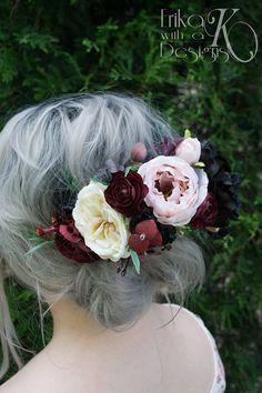 Faux jardin fleuri Rose mariée ou demoiselle d'honneur demi-Couronne, soie artificielle Marsala vin, Bourgogne, fard à joues rose, noir, Ivoire casque