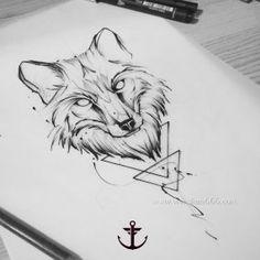 泼墨狼头几何纹身手稿