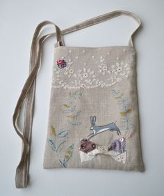 Bag - Purse - Hip-Cross body : artist orignal hand painted - Hare by hensteeth on Etsy