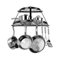 Range Kleen 2 Shelf Wall Mount Black Wrought Iron and Stainless Steel Pot Rack Wall Anchors Pot Rack Hanging, Hanging Pots, Pot Hooks, Pot Hanger, Wall Hanger, Hanging Baskets, Hanger Hooks, Hangers, Kitchen Organization