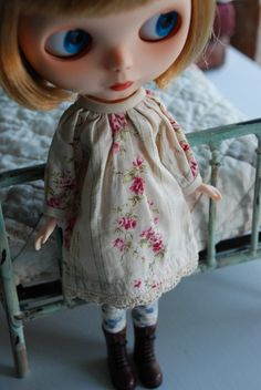 Tea Stained Cottage Dress for Blythe by smalltownsarah on Etsy, $25.00  Adorable!!