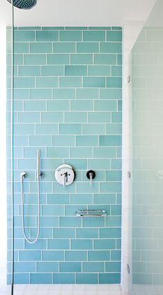 Gorgeous color for the bathroom // Aqua glass subway tile - bath wall and surround for kids bathroom, run vertically.
