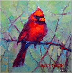 """Daily Paintworks - """"Kristys Cardinal"""" - Original Fine Art for Sale - © Annetta Gregory"""