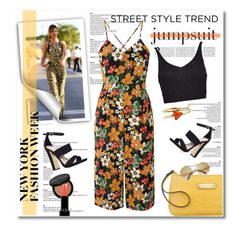 """""""NYFW Street style : Jumpsuits"""" by limass ❤ liked on Polyvore featuring Boohoo, Glamorous, Anne Klein, Carvela, From St Xavier, Bobbi Brown Cosmetics, Giorgio Armani and nyfwstreetstyle"""