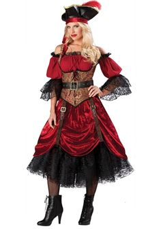 Swashbucklin Scarlet Women Pirate Costume