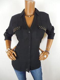 EXPRESS PORTOFINO Blouse Womens Top M SEXY Black Shirt Long Sleeves Stud Pockets #Express #Blouse #Casual