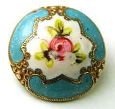 Antique French Enamel Button Turquoise w Hand Painted Floral Design | eBay