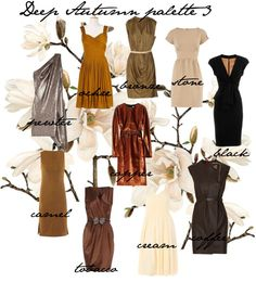 """Metallics look great on Deep Autumns, also saturated shades of brown. Cream is the """"white"""" for Deep Autumns*."""