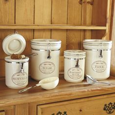 CHEFS Fresh Valley Farm Canisters Functional kitchen canisters with vintage-style durability and airtight seal for best preservation. Rustic Kitchen, Vintage Kitchen, Kitchen Dining, Kitchen Decor, Kitchen Ideas, Kitchen Small, Kitchen Things, Kitchen Stuff, Country Kitchen