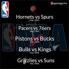 Confere os prognósticos para a NBA...  http://www.apostaganha.com/2016/03/21/prognostico-apostas-hornets-vs-spurs-nba-2/  http://www.apostaganha.com/2016/03/21/prognostico-apostas-pacers-vs-76ers-nba-121/  http://www.apostaganha.com/2016/03/21/prognostico-apostas-pistons-vs-bucks-nba-2321/  http://www.apostaganha.com/2016/03/21/prognostico-apostas-bulls-vs-kings-nba-5/  http://www.apostaganha.com/2016/03/21/prognostico-apostas-grizzlies-vs-suns-nba-245/  Quer 100 euros de bonus, streams dos…