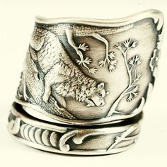 Bear Climbing Tree California Sterling Spoon Ring by Spoonier, $87.00