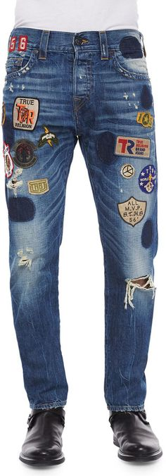 Shop for Dean Well-Traveled Patchwork Denim Jeans, Blue by True Religion at ShopStyle. Now for Sold Out.