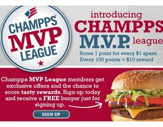 Free Burger from Champps MVP Club - http://getfreesampleswithoutsurveys.com/free-burger-from-champps-mvp-club