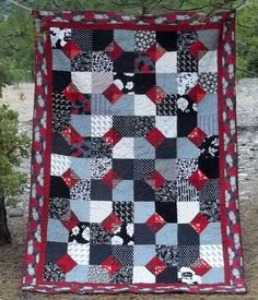 Twin Quilt Red White Black and Gray. $225.00, via Etsy.