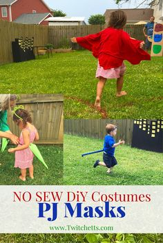 These PJ Masks Costumes are all No Sew! Create an Owlette, Gekko, and Catboy dress up accessories for your kids.