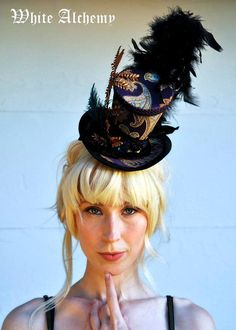 couture top hat | Purple Brocade Couture Tiny Top Hat / Facinator & black velvet by Whi ...