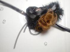 Vintage romantic feather diy headband hair piece on Sashe, romantická ručne robená vintage retro čelenka na Sashe - Čierno-hnedá tretia