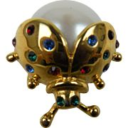 Signed MARVELLA Imitation Pearl Bug Brooch